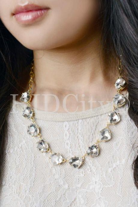 Triangle Crystal Statement Necklace Designer Inspired Rhinestone Chain