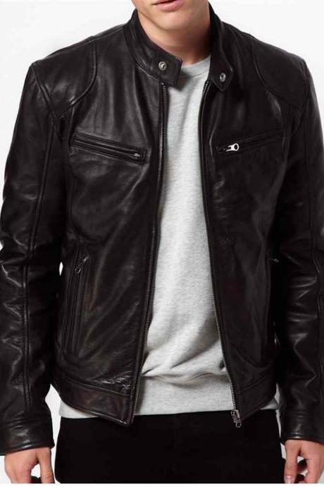 Men black Leather jacket, real leather biker jacket