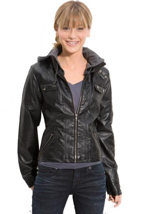 Women Black biker leather Jacket made with real Leather