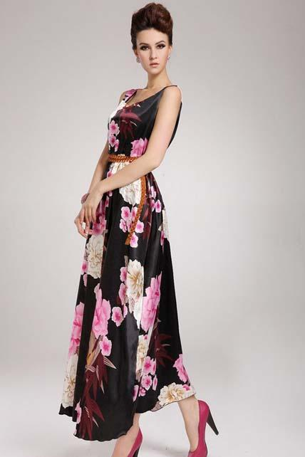 Retro Flowers Printed Sleeveless Round Neck Maxi Dress