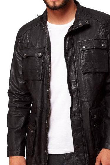Men Classic Black Stylish Leather Bomber Jacket