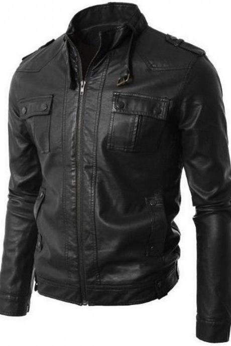 Men Classic Black Buckle Collar Stylish Leather Biker Jacket
