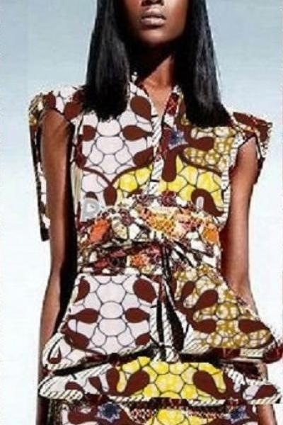 Worldwide Free Shipping - Gorgeous Kilimanjaro Dashiki Blouse And Knee Lenght A Line Skirt