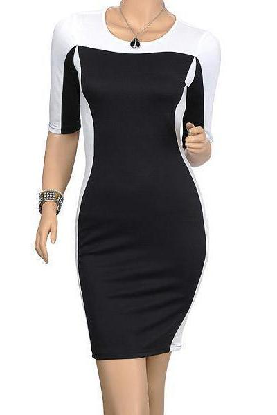 Slim wild fashion hit the color Sleeve Plus Size Dress