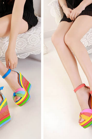 Blue Orange Peep-Toe Summer Rainbow Stripes High Platform Wedges 3 Colors