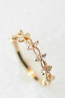 Simple Lace Rose Gold zircon ring