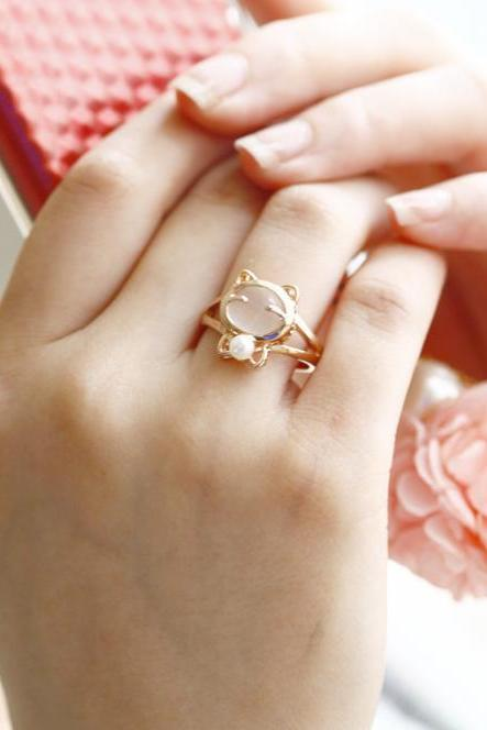 Opal Ring, pearl ring, pink cat ring, white cat ring