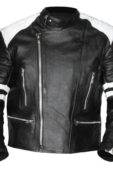 MEN LEATHER JACKET Old school white/black