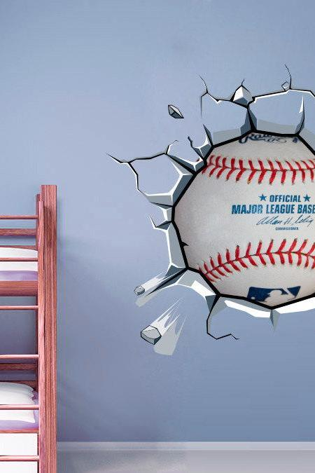 Baseball Decor Ball Cracked Wall Effect Sports Sticker Baseball MLB Wall Art Decal