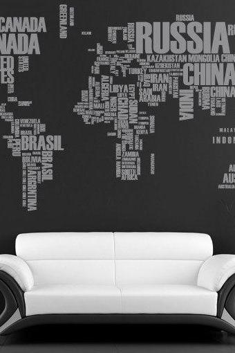 World Map with Country Names Text Sticker Decal for Housewares