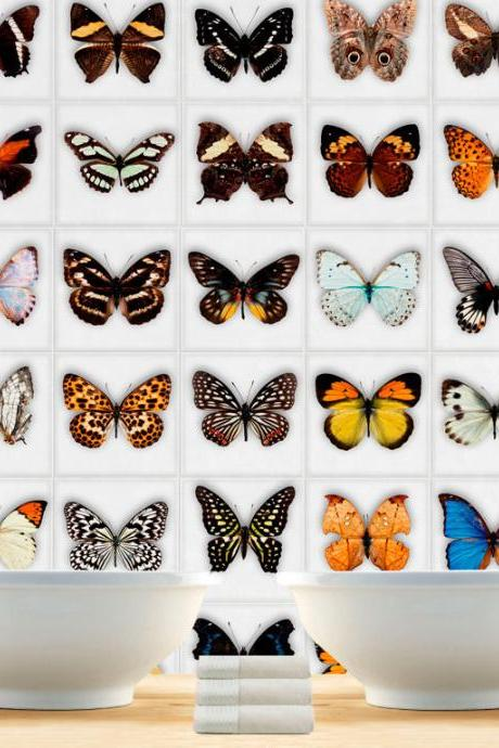 Butterfly Tiles Stickers for mosaic tiles makeover , DIY kitchen or bathroom makeover - Washable and Waterproof