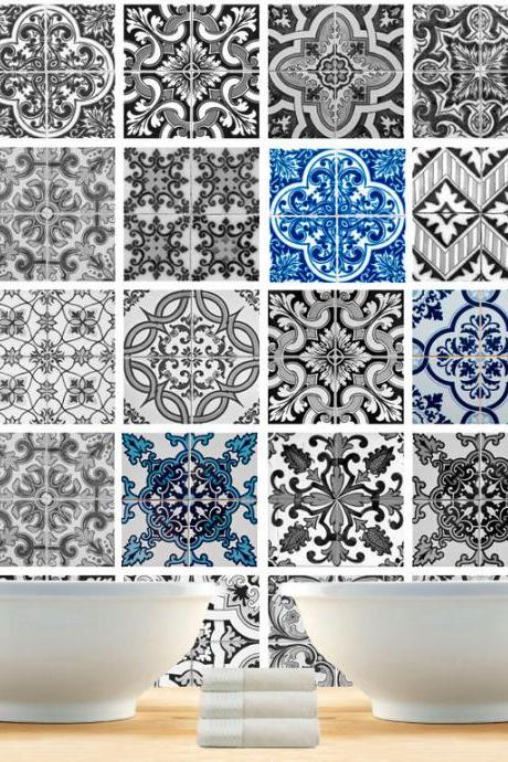 Tile Decal Stickers Patterns - DIY kitchen or bathroom makeover - stick on ceramic - Washable and Waterproof