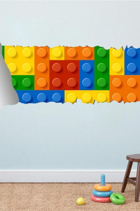 Lego Effect Style Torn Wall Decal Vinyl Sticker for Housewares Handmade and Designed Not Associated with Lego Brand