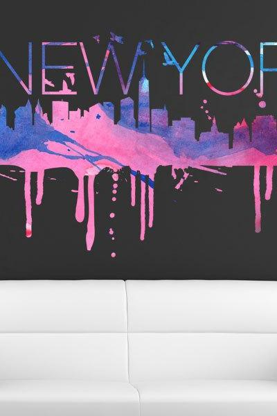 New York City Watercolor Skyline Vinyl Art Print Design Sticker for Home Decoration