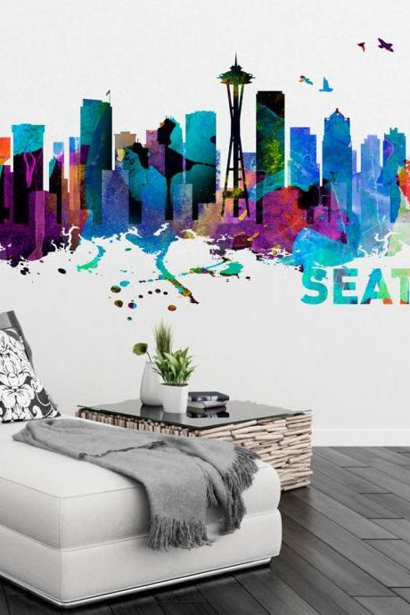 Seattle Washington Skyline Watercolor Art Decal Sticker for Housewares