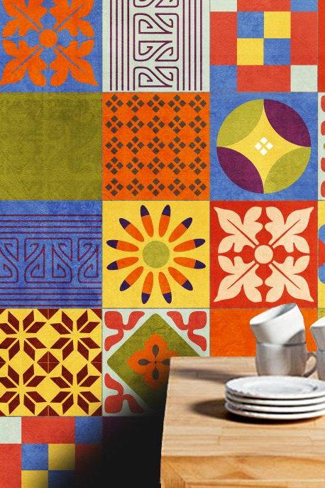 Talavera Vinyl Tile Decals of Mexican Talavera Tile Washable and Waterproof Stickers