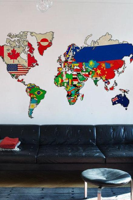 Vintage Flags World Map Art Print Sticker Antique Decal for Housewares