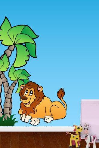Jungle Lion Adhesive Fabric Wall Decal for Housewares