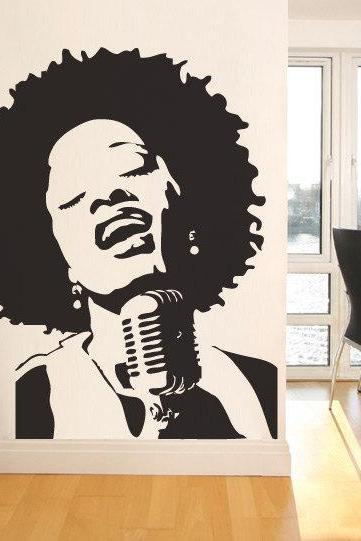 Soul Singer Girl Vintage Sticker Decal Home Design Modern Decoration