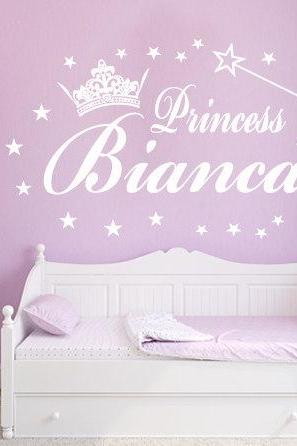 Typographic Custom Princess Decal Wall Vinyl Text