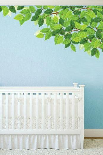 Tree Corner Nursery Sticker Green Leaves Tree Wall Decal