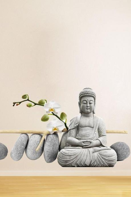 Buddha Statue Sitting Decal Figure Wall Art Print Oriental Sticker for Asian Home Decor