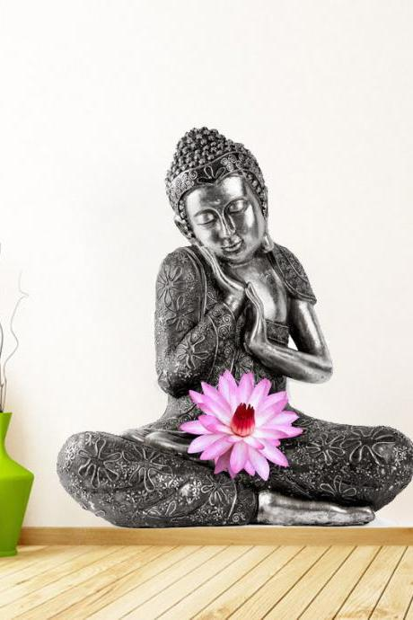 Buddha Zen Sticker Art Print Lotus Flower Decal for Asian Home Decoration