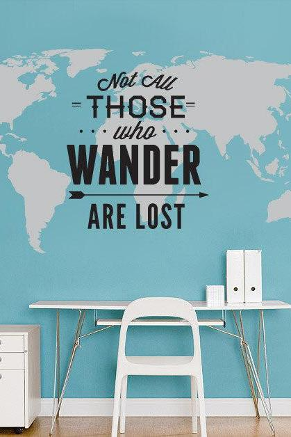 World Map with Travel Quote Not All Those Who Wander Are Lost Typographic Sticker