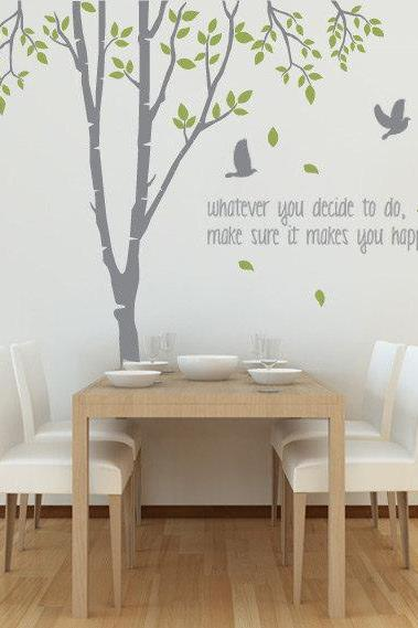 Tree Wall Decal with Quote, Spring Tree Birds Vinyl Wall Sticker Art