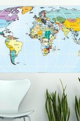 Wall Decor Printed Rectangular World Map Sticker for Housewares