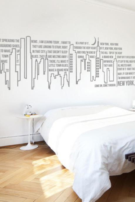 New York New York Frank Sinatra Lyrics Typography Wall Art Vinyl Decal Sticker Home Decor