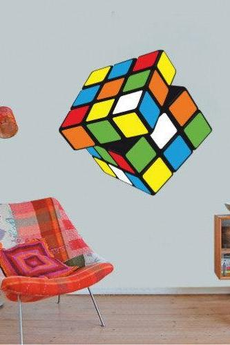 Rubik Cube Wall Decal Art Print for Teens Home Decor