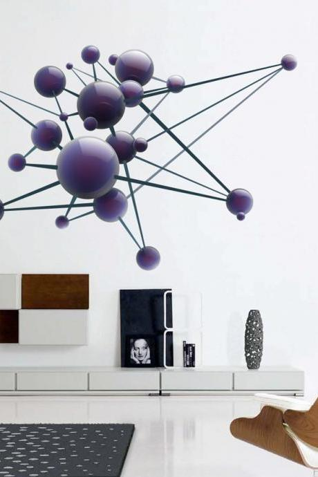 Science Art Molecule Physics Atom Models Wall Art Decal