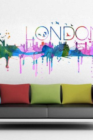 London City Skyline Watercolor Vinyl Wall Decal Art Print Decor
