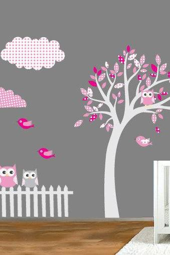Pattern Tree Owl Sticker Nursery Decal for Housewares