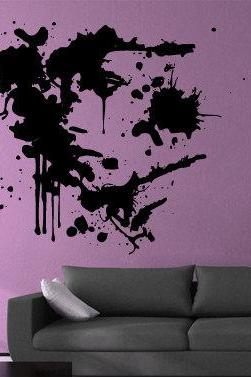 Graffiti Face Woman Silhouette Decal Shaded Sticker for Modern Living Room