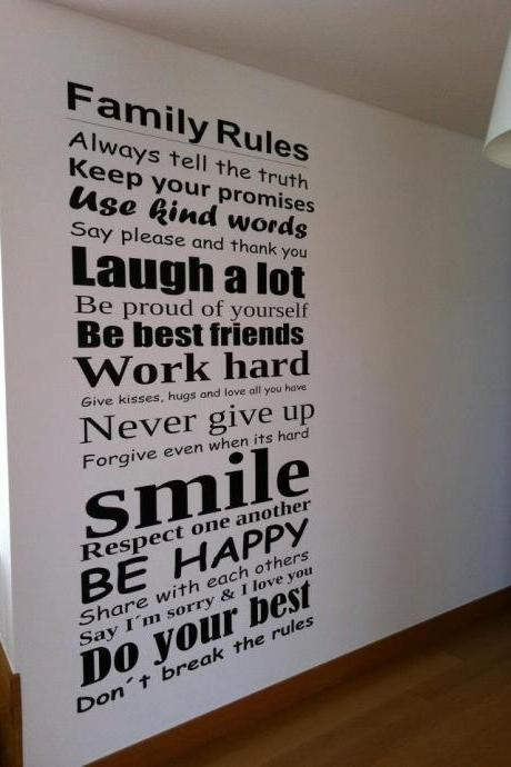 Wall Decal Quotes - Family Rules Wall Art Typography Sticker Home Decor Vinyl for Housewares