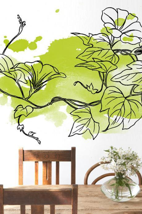 Floral Green Watercolor Wall Decal Art Print Sticker for Modern Living Room