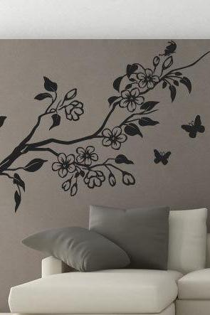 Side Floral Tree Sticker Nature with Butterflies Decal for Housewares