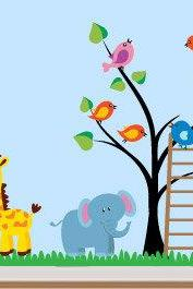 Nursery Kids Bedroom Decal Jungle Animals Sticker for Modern Homes