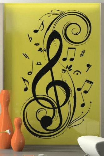 Music Clef Wall Decal with Notes Sticker All Modern for Housewares