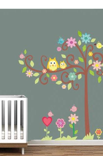 Tree Owl Sticker Nursery Decal for Kids Bedroom
