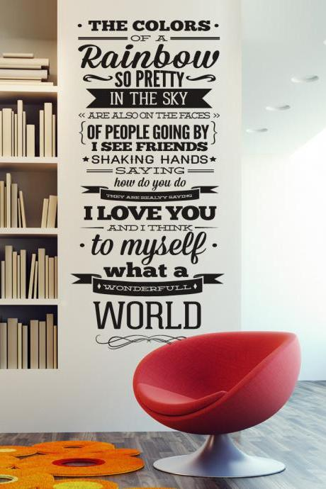 Wall Decal Quotes - Wonderful World Wall Decal Music Lyric Quote Louis Armstrong Typographic Sticker