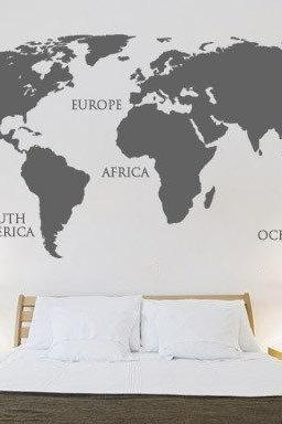 World Map Decal for Housewares with Continents