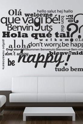 Wall Decal Quotes - Welcome Be Happy Typography Multilingual Sticker Text Wall Decoration