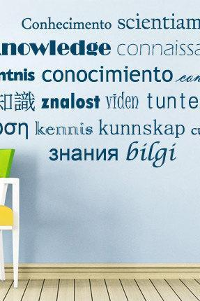 Wall Decal Quotes - Multilingual Knowledge Typographic Decal Text for Housewares