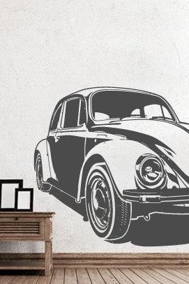 Beetle Car Vintage Wall Sticker for Housewares