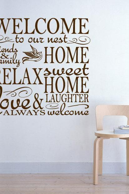 Wall Decal Quotes - Vinyl Wall Houseware Welcome Home Decal Quote Sticker Text