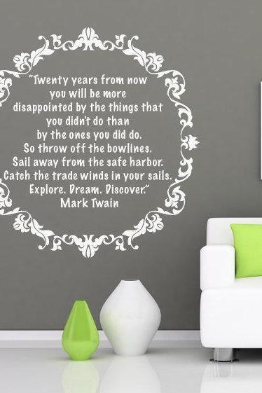 Wall Decal Quotes - Vinyl Quote Wall Housewares Mark Twain Sticker Text