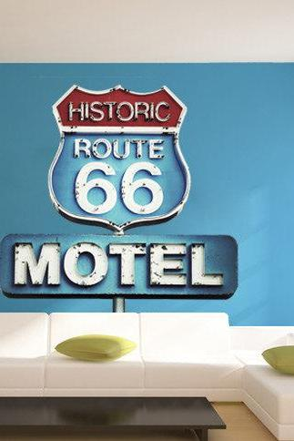 Retro Vintage Sign Historic Route 66 Wall Art Print Decal